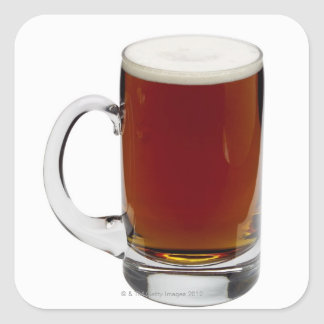 Close up of a glass of beer 3 square sticker