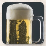 Close-up of a glass of beer drink coaster