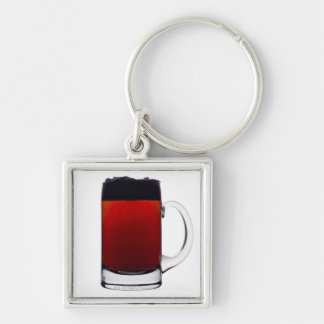 Close up of a glass of beer Silver-Colored square keychain