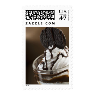 Close-up of a glass of chocolate sundae postage