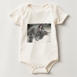 Close Up Of A Grey Kitten Baby Bodysuit