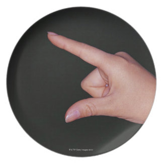 Close-up of a hand with finger and thumb dinner plate