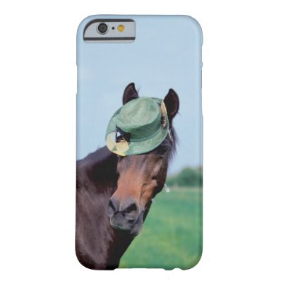 Close-up of a horse wearing a green hat barely there iPhone 6 case
