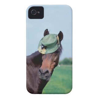 Close-up of a horse wearing a green hat iPhone 4 case