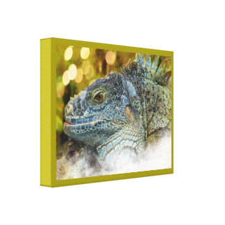 Close Up of a Large Scaly Green Iguana Lizard Canvas Print
