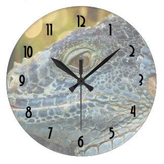 Close Up of a Large Scaly Green Iguana Lizard Large Clock
