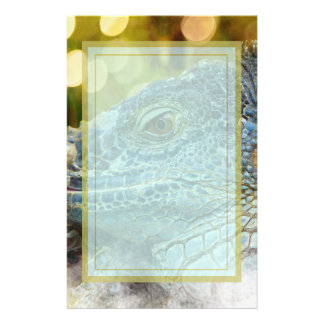 Close Up of a Large Scaly Green Iguana Lizard Stationery