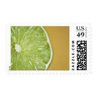 Close-up of a lemon slice stamp