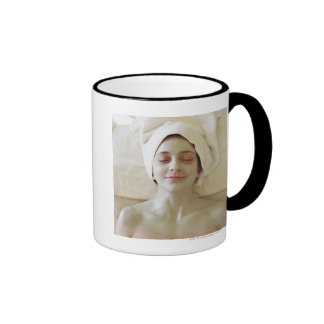 Close-up of a mid adult woman having a facial ringer coffee mug