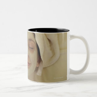 Close-up of a mid adult woman having a facial Two-Tone coffee mug