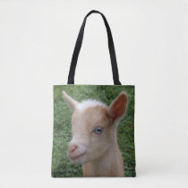 Close up of a Nigerian Dwarf Dairy Goat Kid Tote Bag