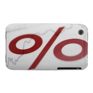 Close-up of a percentage sign on a line graph iPhone 3 case