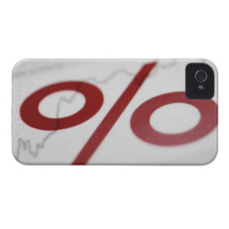Close-up of a percentage sign on a line graph iPhone 4 case
