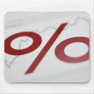 Close-up of a percentage sign on a line graph mouse pad