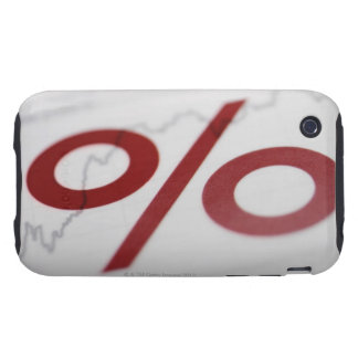 Close-up of a percentage sign on a line graph tough iPhone 3 case