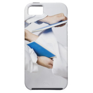 Close-up of a person's leg breaking a tile iPhone 5 case