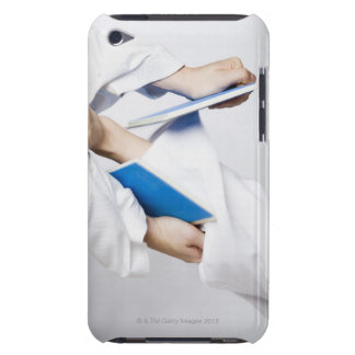 Close-up of a person's leg breaking a tile iPod touch case