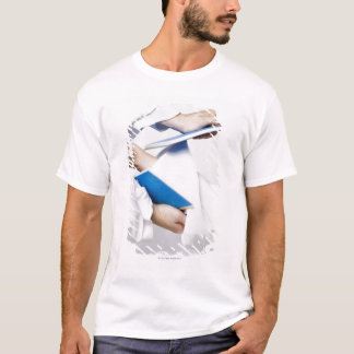 Close-up of a person's leg breaking a tile T-Shirt