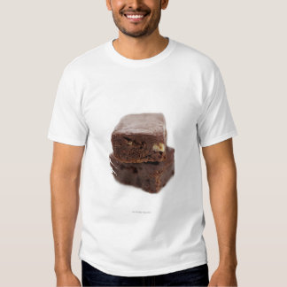 Close-up of a pile of two chocolate brownies on shirt