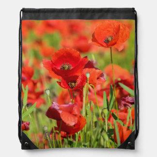 Close-up of a Poppy field, France Drawstring Bag