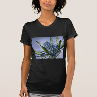 close up of a prickly  blue thistle blossom flower T-Shirt