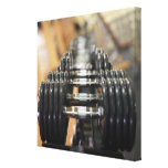 Close-up of a row of dumbbells stretched canvas prints
