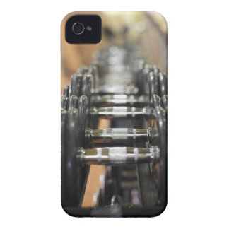 Close-up of a row of dumbbells iPhone 4 case