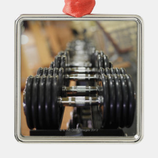 Close-up of a row of dumbbells square metal christmas ornament