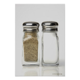 Close-up of a salt and a pepper shaker 2 poster