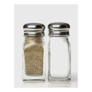 Close-up of a salt and a pepper shaker postcard