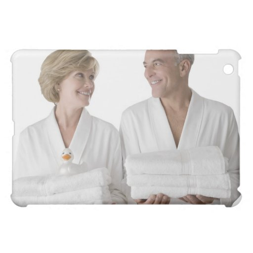 Close-up of a senior man with a mature woman case for the iPad mini