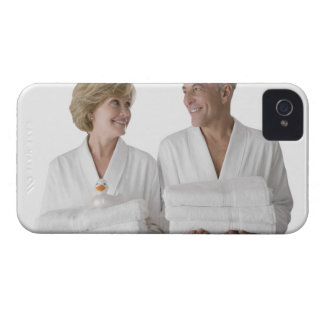 Close-up of a senior man with a mature woman iPhone 4 case