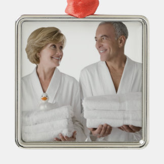 Close-up of a senior man with a mature woman square metal christmas ornament