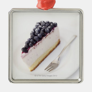 Close-up of a slice of blueberry cheese cake square metal christmas ornament