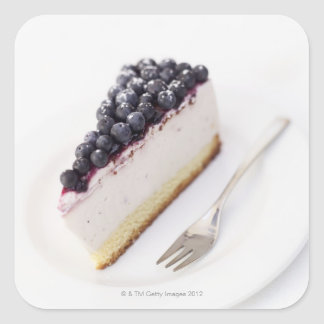Close-up of a slice of blueberry cheese cake square stickers