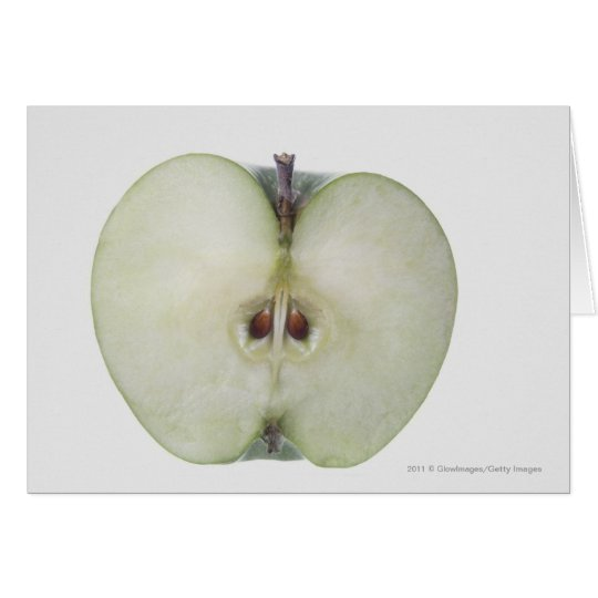 Close-up of a sliced granny smith apple card