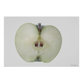 Close-up of a sliced granny smith apple poster
