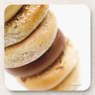 Close-up of a stack of assorted bagels coaster