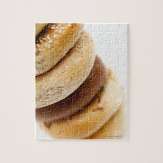 Close-up of a stack of assorted bagels jigsaw puzzle
