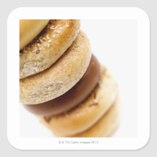 Close-up of a stack of assorted bagels square sticker