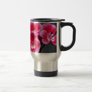 CLOSE UP OF A stunning pink geranium Travel Mug