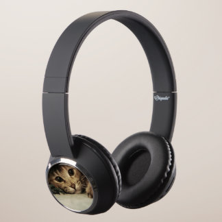 Close up of a tabby cats eyes headphones