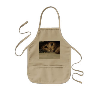 Close up of a tabby cats eyes kids' apron