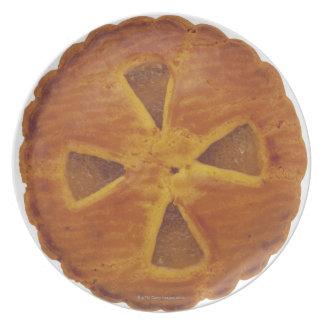 Close-up of a tart dinner plates