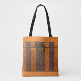 close-up of a vintage coffer on tote bag
