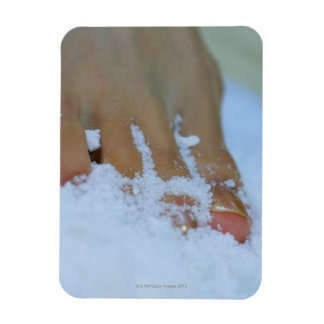 Close-up of a woman's foot in salt magnet