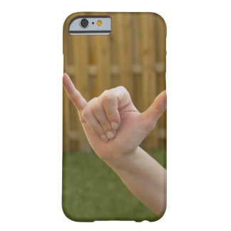 Close-up of a woman's hand making a shaka sign barely there iPhone 6 case