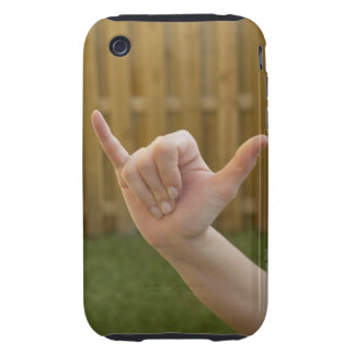 Close-up of a woman's hand making a shaka sign tough iPhone 3 case