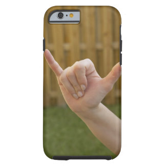 Close-up of a woman's hand making a shaka sign tough iPhone 6 case