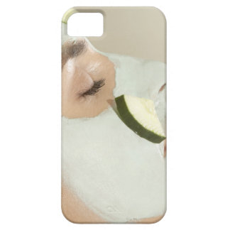 Close-up of a young woman wearing a facial mask iPhone SE/5/5s case